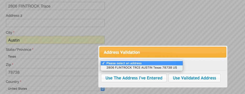 Validating address