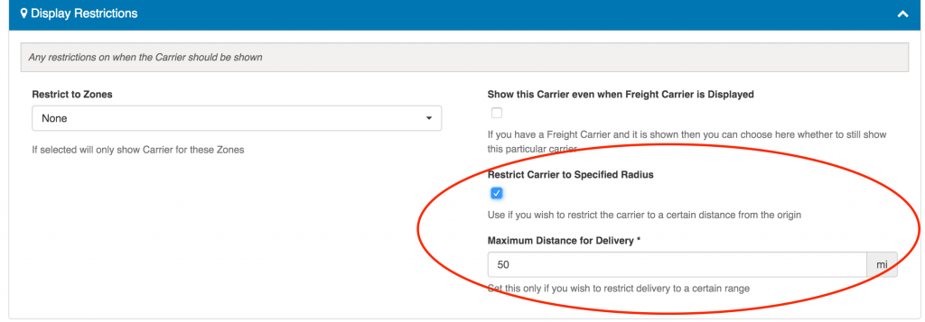Select Delivery Area
