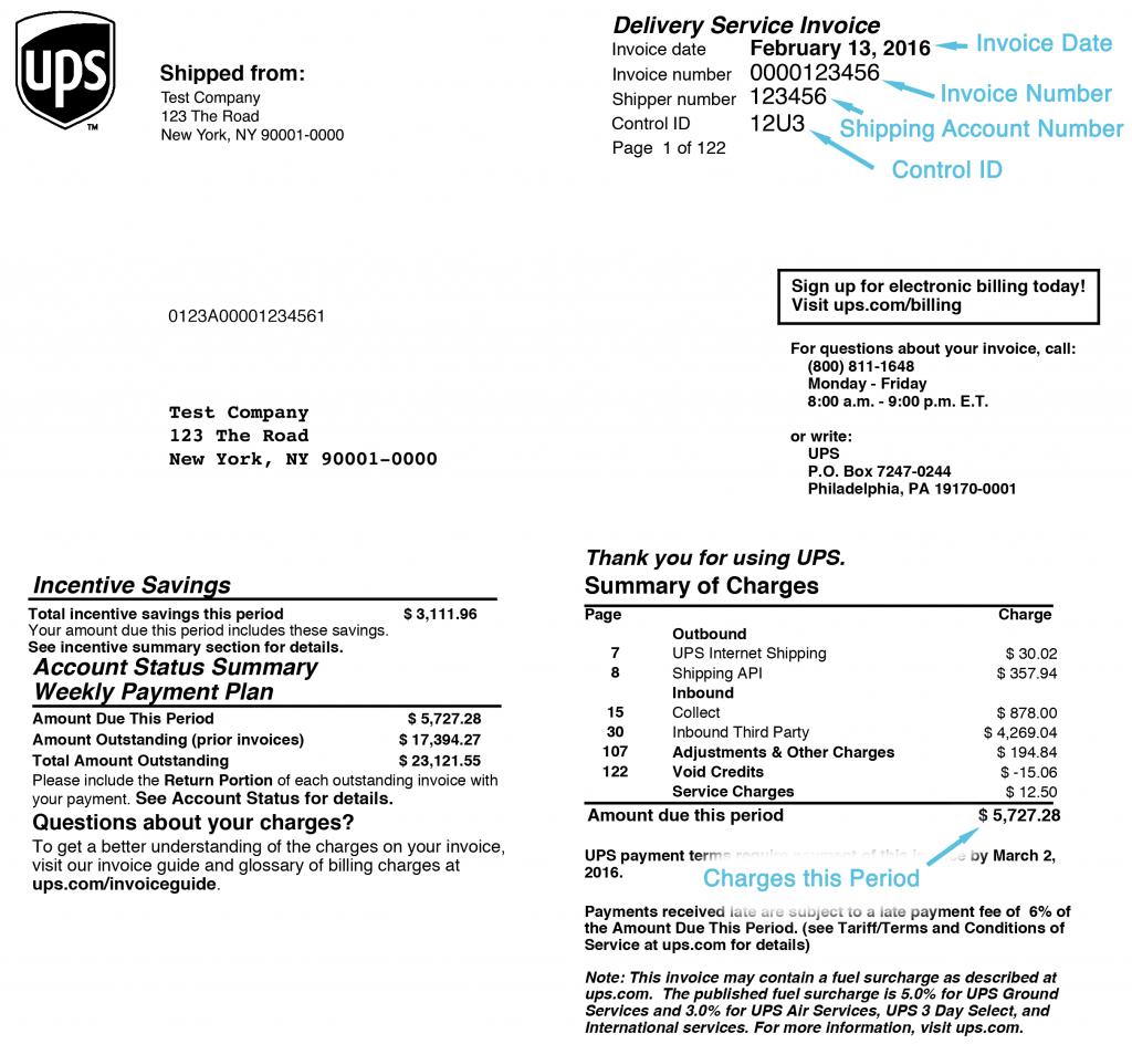Example UPS Invoice