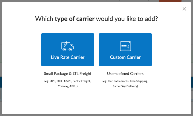Carrier Type - Live Rate or Custom Carriers