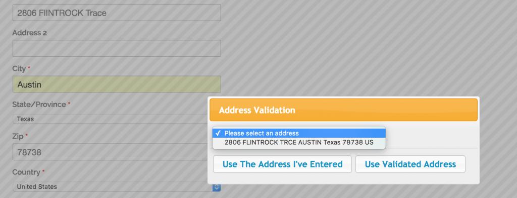 Validating address