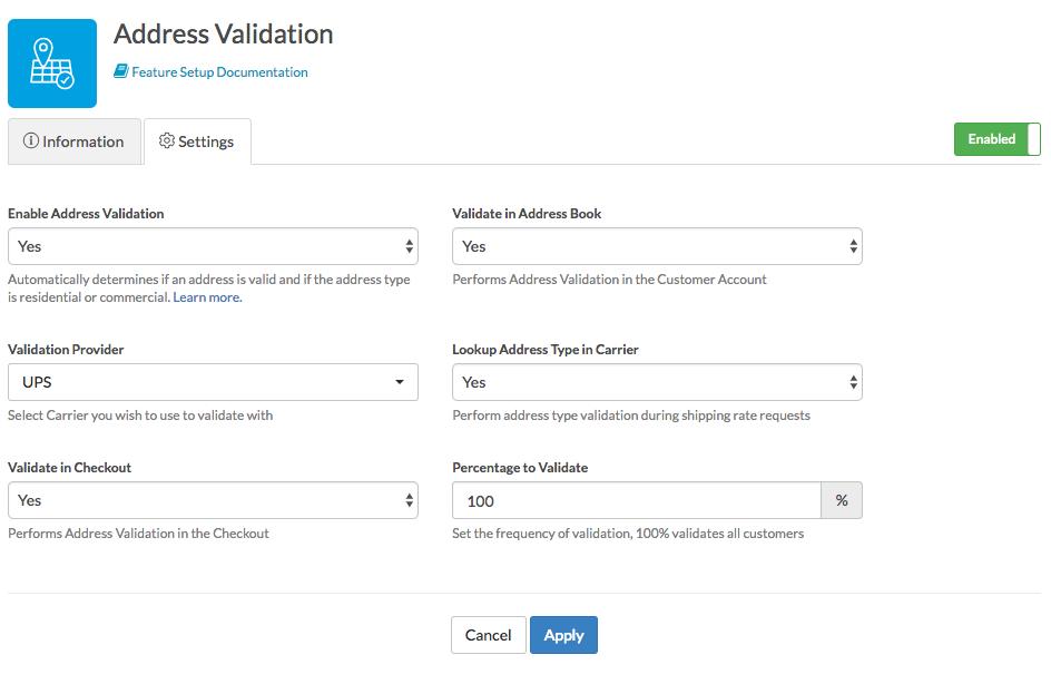 Address Validation Settings