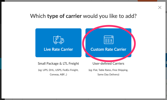 Add custom Rate Carrier