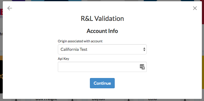 R+L Validation -- Enter API Key