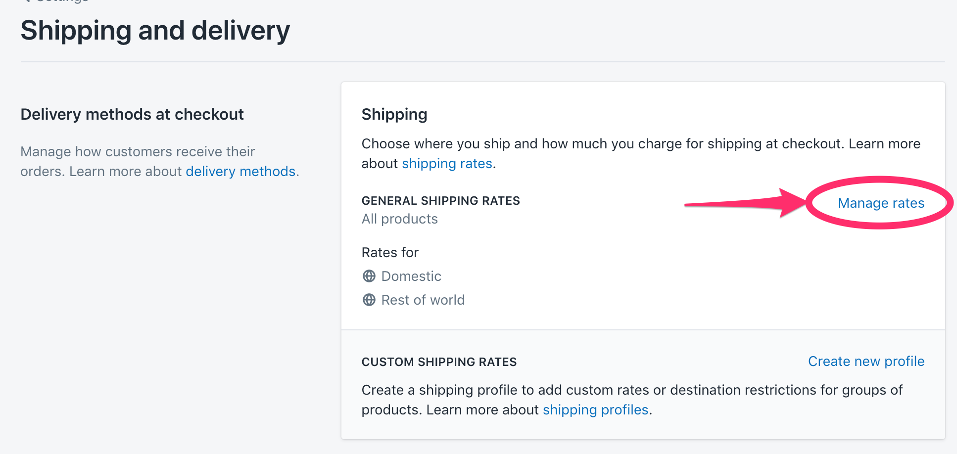 Shopify Manage Rates