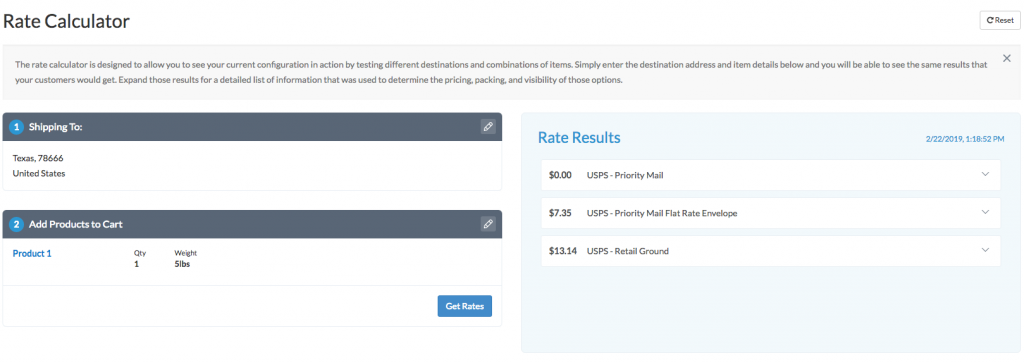 Screenshot of Rate Calculator