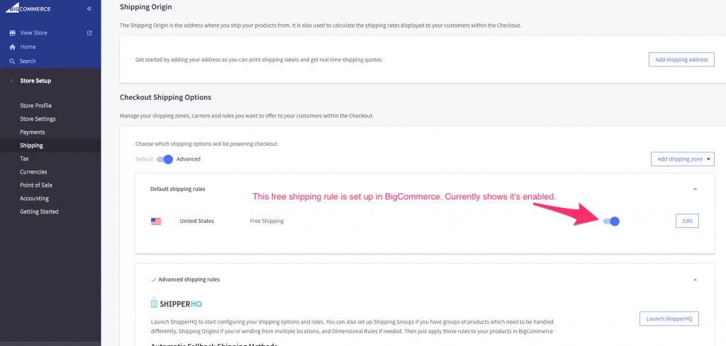 BigCommerce Store Setup > Shipping > Checkout Shipping Options